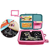 Детский обучающий набор для рисования Backpack packing 3in1   Рюкзак для творчества с магнитной доской розовый, фото 4