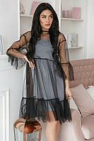 Сукня-двійка з сітчастим верхом жіноча СРІБЛО (ПОШТУЧНО), фото 1