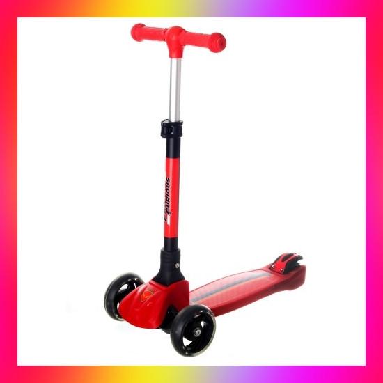 Дитячий триколісний складаний самокат Best Scooter 5473 зі світними колесами Чорний з червоним