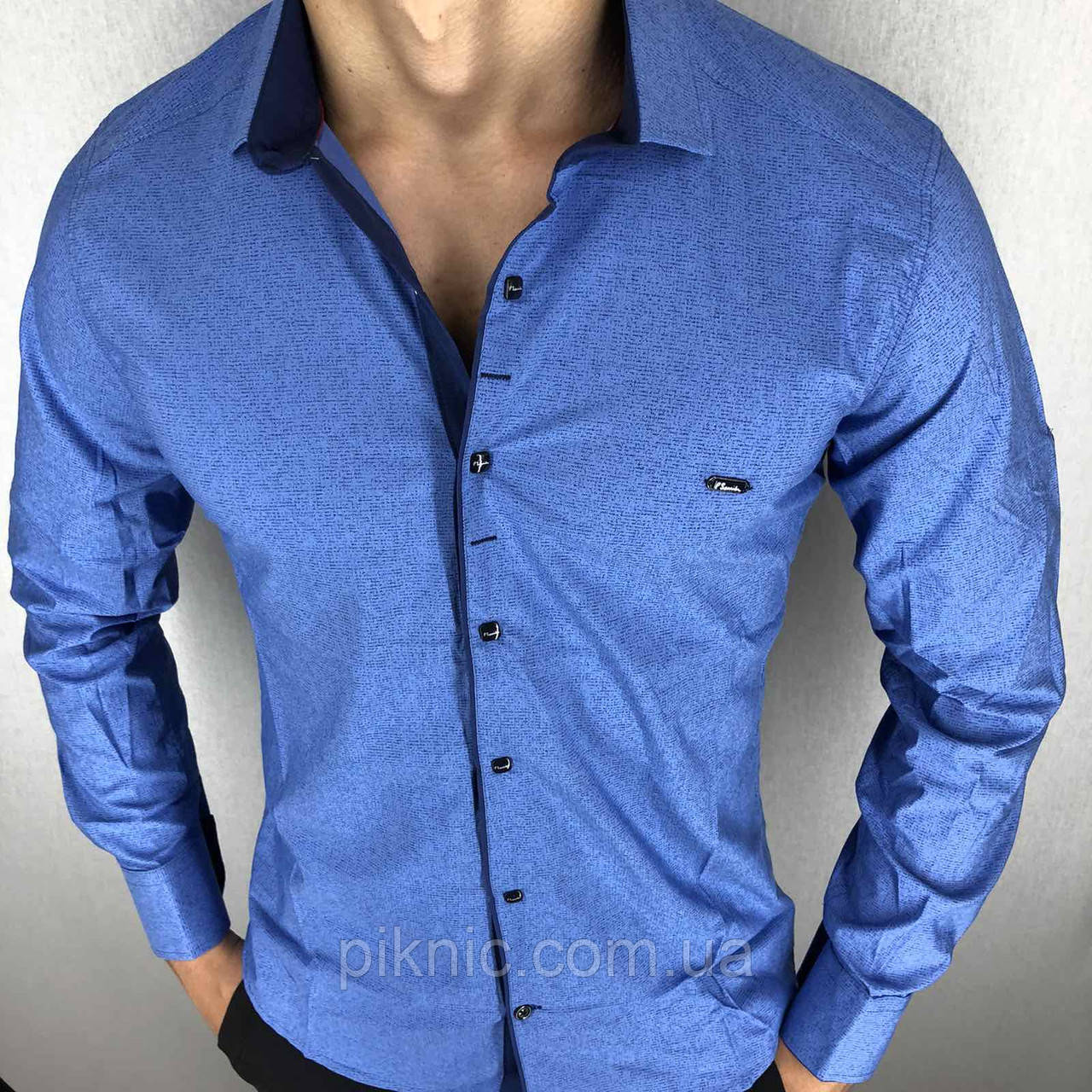 Рубашка мужская длинный рукав S,XL,XXL Турция. Молодежная турецкая рубашка трансформер. Голубая