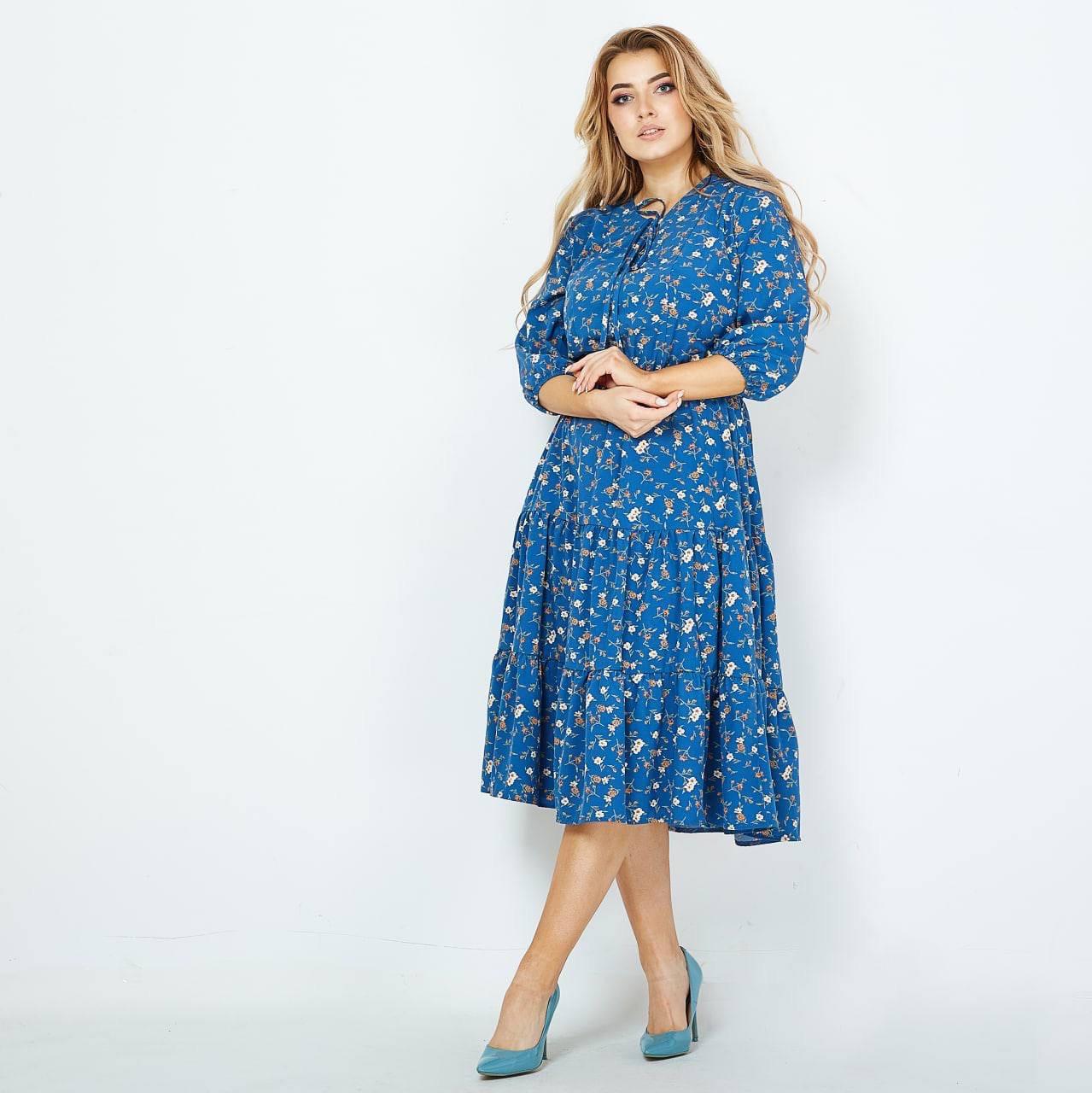 Платье женское цветочный принт батал голубое размеры 48-50 52-54 56-58 60-62  Новинка 2021 есть много цветов