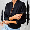 Жіноча демісезонна замшева куртка-бомбер, фото 2