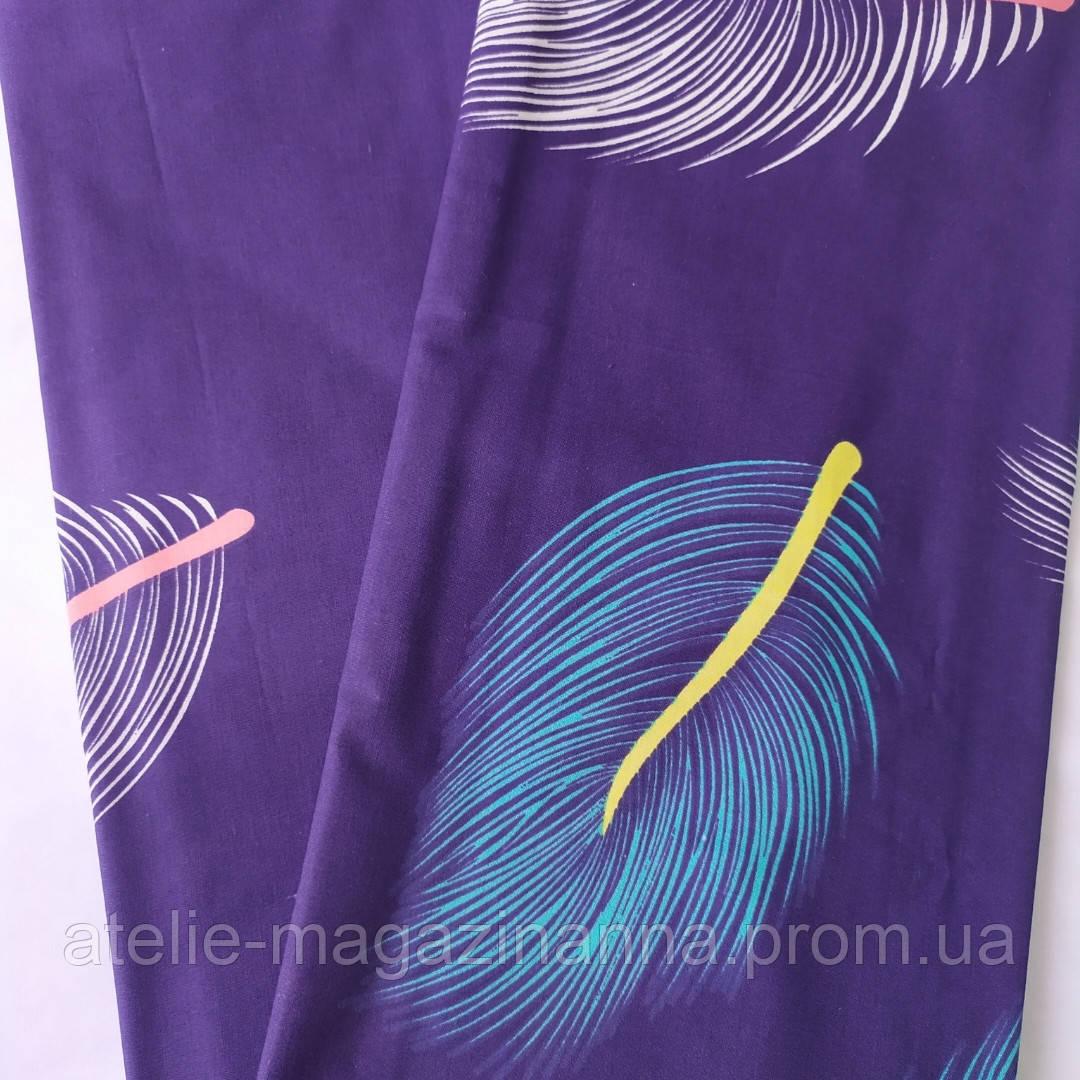 Наволочка на подушку из бязи 50*70 фиолетовая с перьями