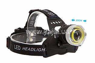 Налобный фонарь WD-112, T6+COB, Zoom