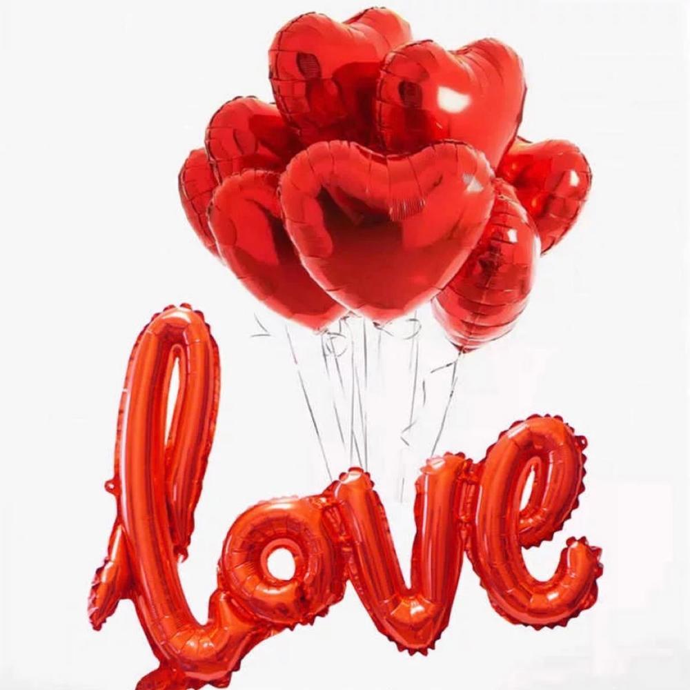 10 красных сердечек и надпись love