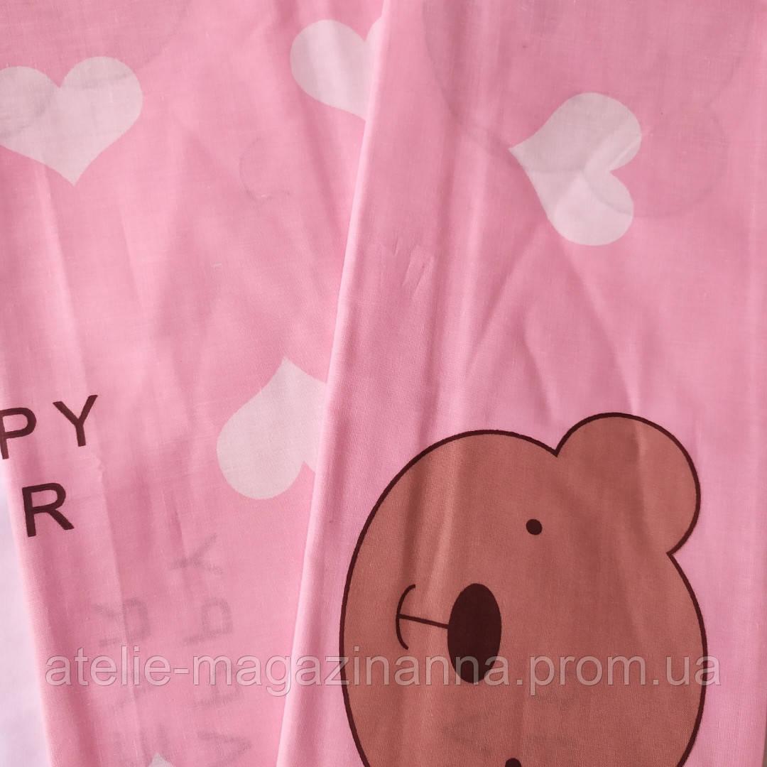 Наволочка на подушку з бязі 50*70 рожева з серцами