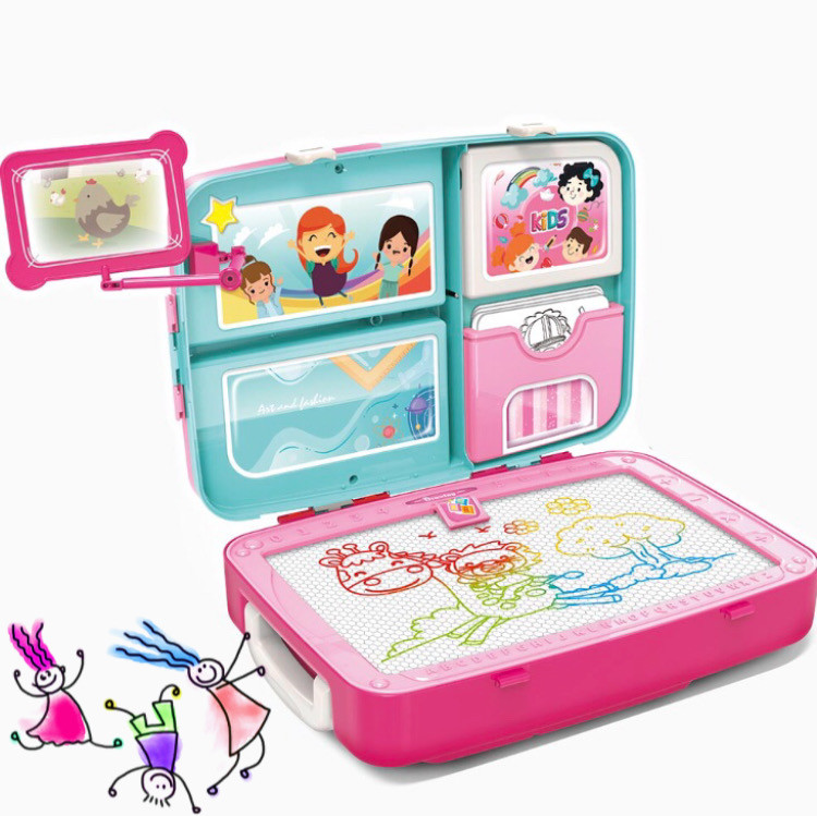 Детский обучающий набор для рисования Backpack packing 3in1   Рюкзак для творчества с магнитной доской розовый