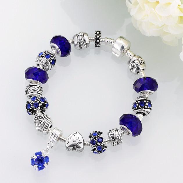 """Браслет женский в стиле Pandora с синими шармами """"My Star"""" покрытие серебро 925"""
