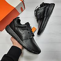 Мужские кроссовки Nike Roshe Run black летние кеды реплика adidas