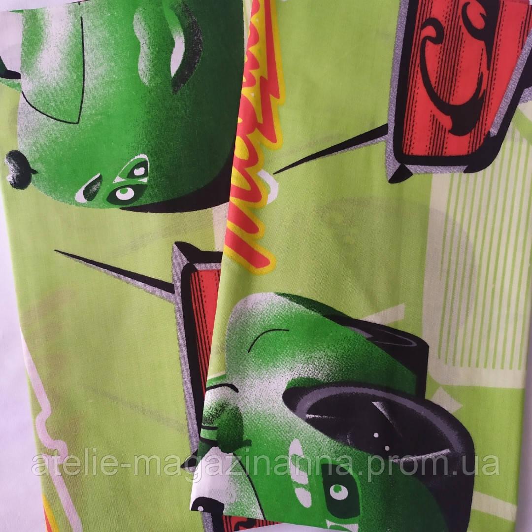 Наволочка 60*60 зелёная тачки