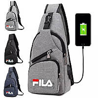 Мужская сумка слинг через плечо с USB фила fi la размер 34х16х10. Сумка-рюкзак мессенджер