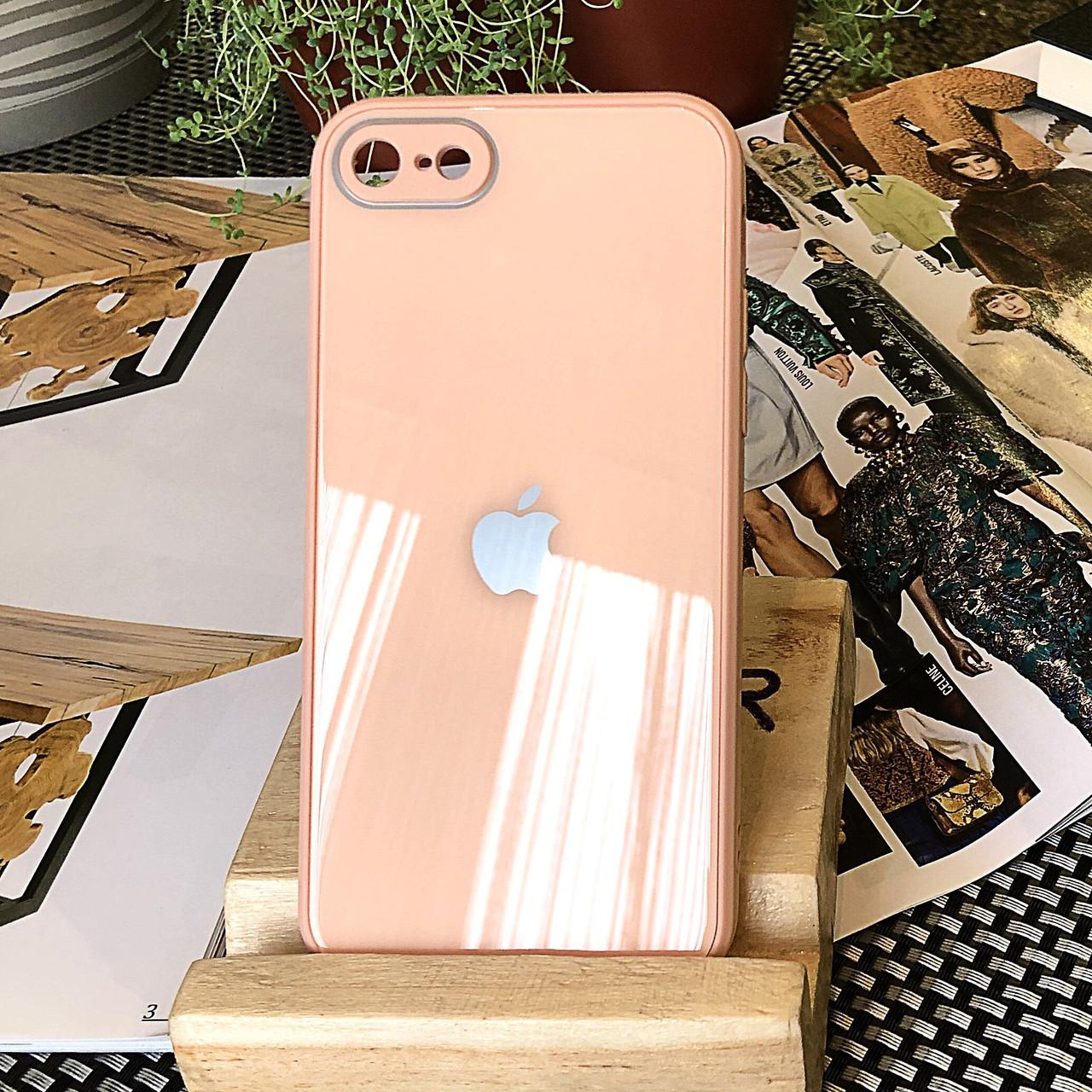 Чехол Color-Glass для Iphone SE 2020 бампер с защитой камер Peach