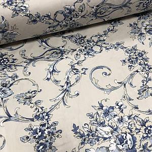 Ткань сатин с рисунком, голубые цветы с орнаментом на серо-бежевом (ТУРЦИЯ шир. 2,4 м) ОТРЕЗ (1*2,4)