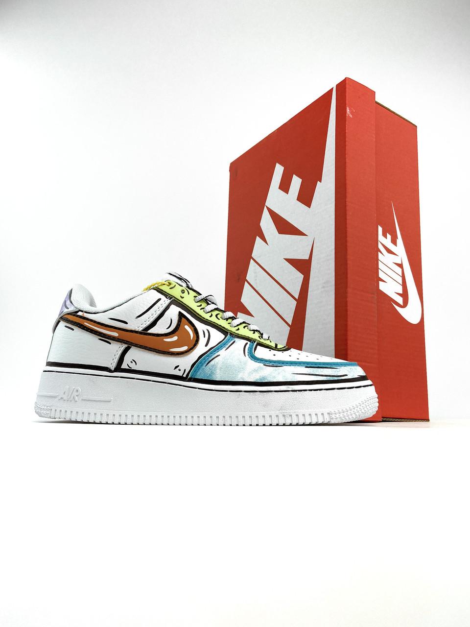 Жіночі кросівки Nike Air Force 1 Low Comics Verde White (Кросівки Найк Аір Форс різнокольорові)