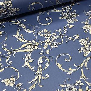 Ткань сатин с рисунком, бежевые цветы с орнаментом на синем (ТУРЦИЯ шир. 2,4 м) ОТРЕЗ (1*2,4)