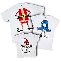 """Набор футболок для всей семьи """"дед мороз+снегурочка+снеговик"""" Family look"""