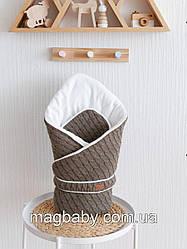 Вязаный конверт-одеяло Косы, хаки