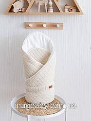 Вязаный конверт-одеяло Косы, бежевый