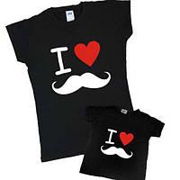 "Набор футболок мама+дочка ""я люблю усы"" Family look"