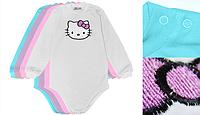 """Детский бодик с длинным рукавом для девочки """"hello kitty"""" 74 Модные детки"""