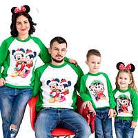 """Новогодние семейные свитшоты """"микки новогодние сублимация"""" Family look"""