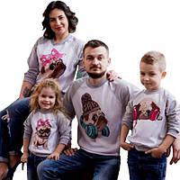 """Свитшоты для всей семьи """"мопсы сублимация"""" Family look"""