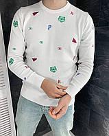 Свитер мужской белый светлый с буквами с надписями с принтом тигр демисезонный модный свитшот мужской белый