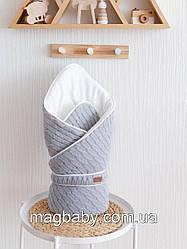 Вязаный конверт-одеяло Косы, серый