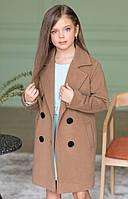 Детское демисезонное пальто для девочки с кокеткой (беж) 110 PaMaranchi