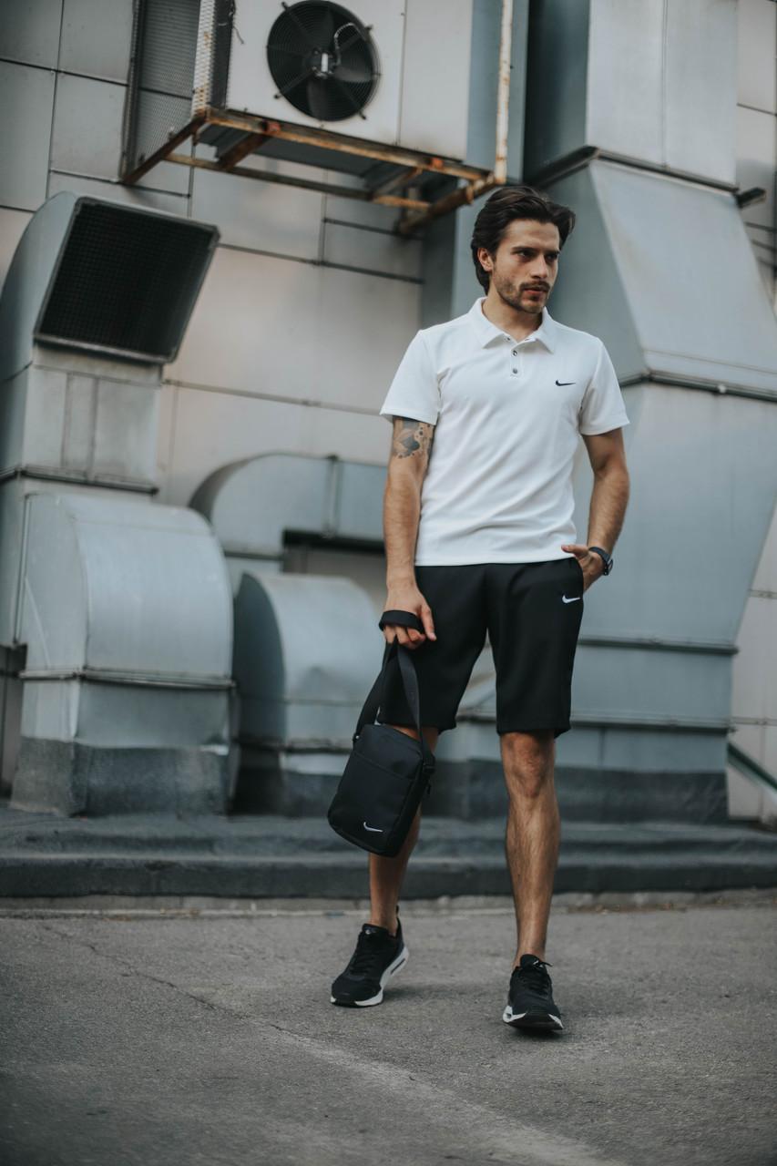 Костюм Футболка Поло  белая + Шорты.  Барсетка в подарок! Nike (Найк)