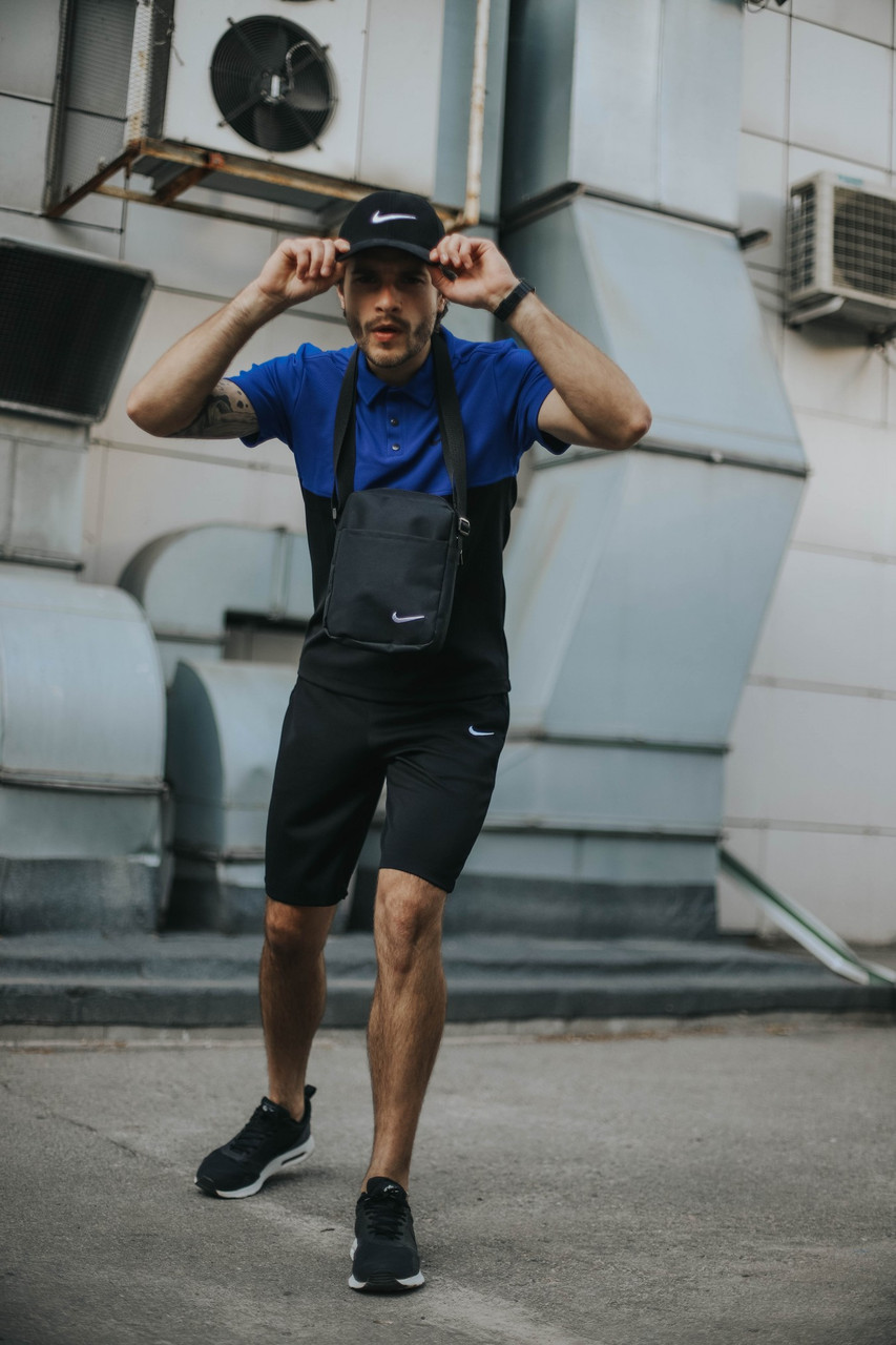 Костюм Футболка Поло електрик - чорна + Шорти + Кепка Чорна. Барсетка у подарунок! Nike (Найк)