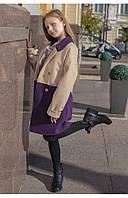 Пальто детское комбинированного цвета (беж/фиолетовый) 110 PaMaranchi