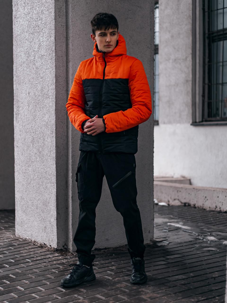 "Демісезонна Куртка ""Temp"" бренду Intruder (помаранчева - чорна)"