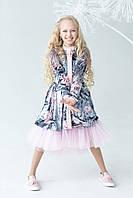 Детское велюровое платье рубашка с пышной юбкой 134-140 см Tiny look