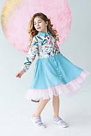 Безумно красивое платье рубашка для девочки 116-122 см Tiny look