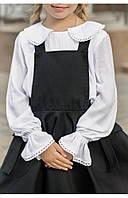 Школьная блуза с круглым воротничком и кружевом 110 PaMaranchi