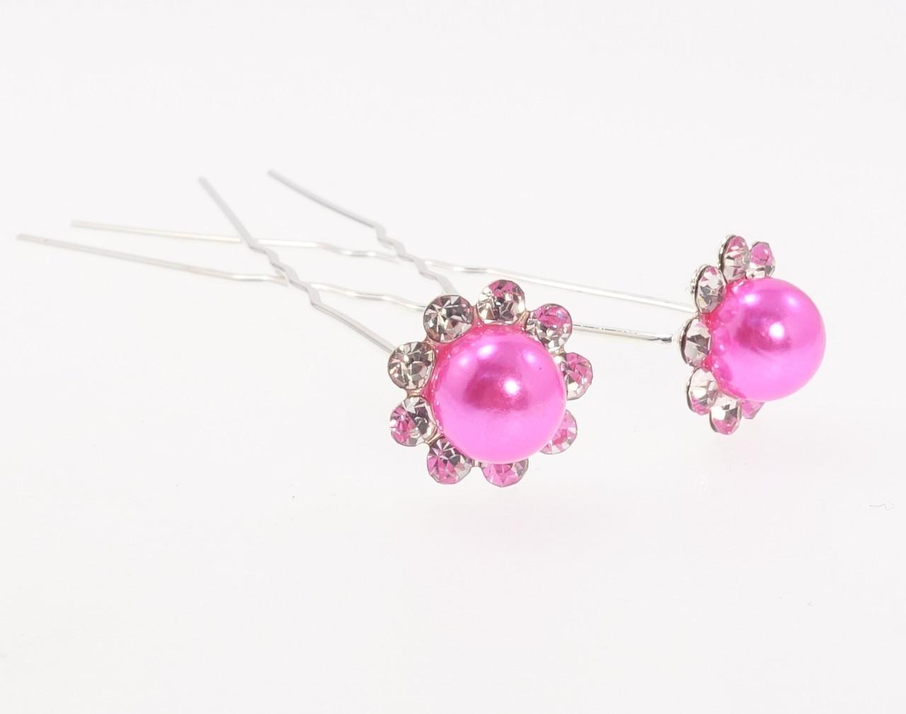 """Шпилька для волос """"Ярко-розовый цветок в обрамлении страз"""" ø 13мм (цена за одну штуку)"""