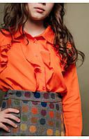 Детская рубашка с рюшем для девочек (оранжевый) 110 PaMaranchi