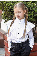 Школьная рубашка с контрастными пуговицами 110 PaMaranchi