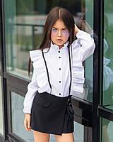 Блуза в школу для девочки с оборками «sh-70» (белая) 128 Barbarris