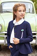 Школьный пиджак с баской для девочек (синий) 116-122 см Tiny look