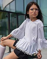Белая школьная блуза для девочек «sh-69» 134 Barbarris