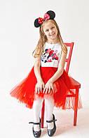 """Детское нарядное платье с принтом на груди """"минни"""" 86 Family look"""