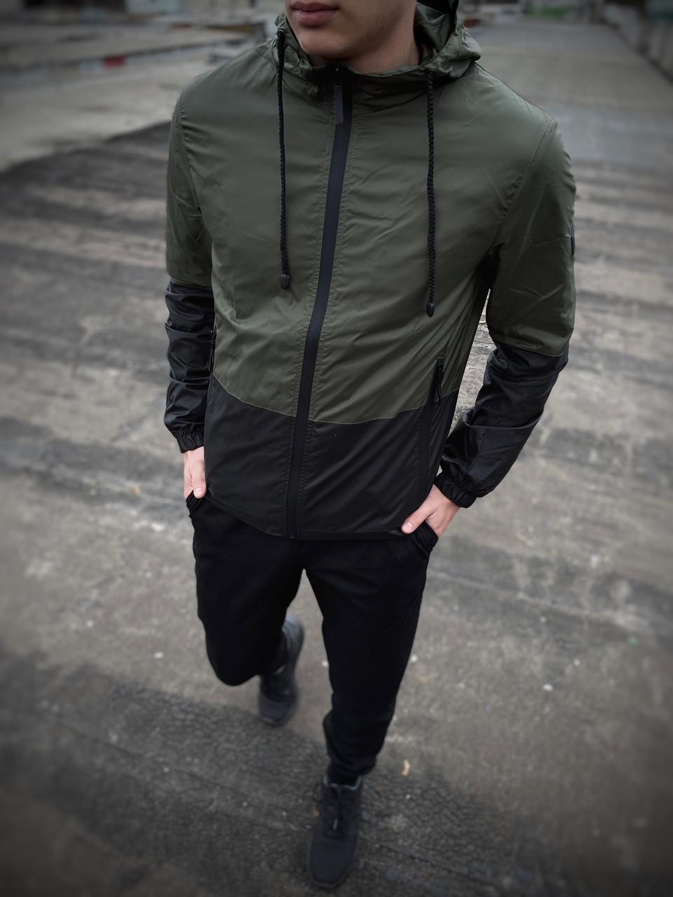 """Чоловіча спортивна куртка """"Anti-wind"""" хакі - чорна"""