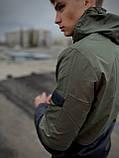 """Чоловіча спортивна куртка """"Anti-wind"""" хакі - чорна, фото 4"""