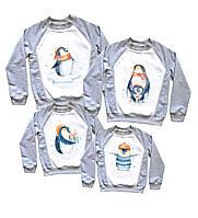 """Набор свитшотов для новогоднего праздника """"пингвины на льдине, с подарком акварельные"""" Family look"""