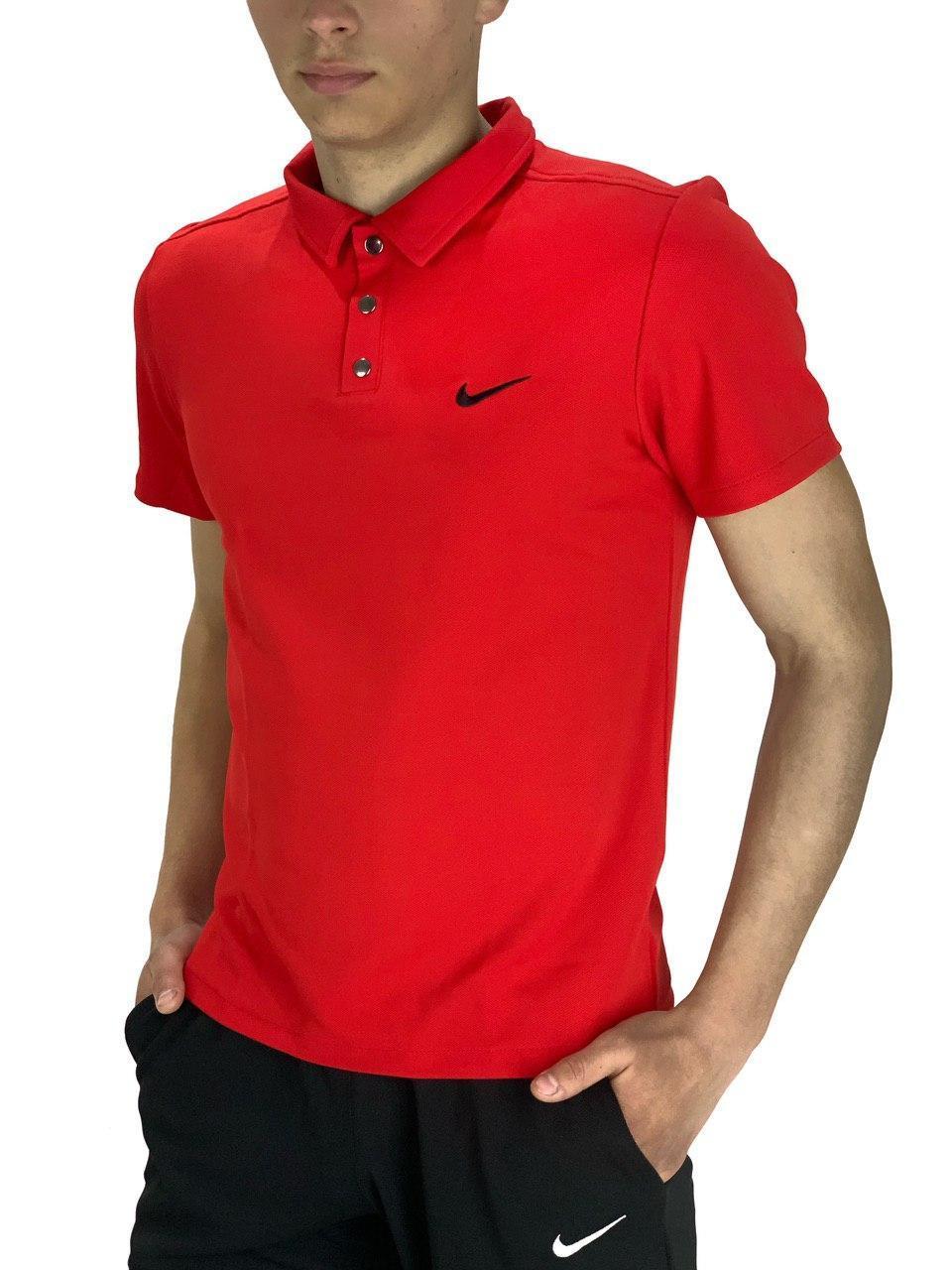 Футболка Поло Мужская красная в стиле Nike (Найк)