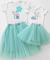"Family look футболки с милыми принтами и юбки ""маленькие мышки"" Family look"
