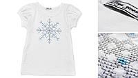 """Детская футболка с вышивкой """"снежинка"""" 110 Модные детки"""