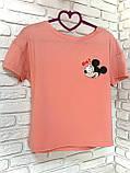 Футболка Жіноча бавовна рожева з принтом Mickey Mouse міккі маус Ox, фото 3